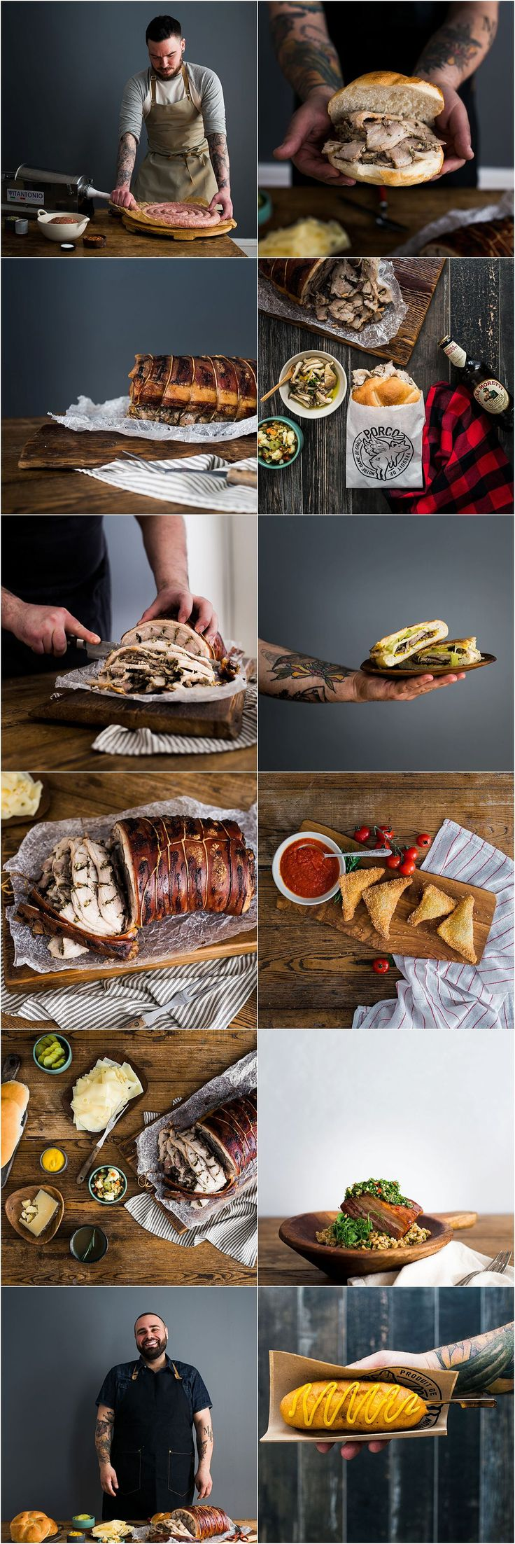 Montreal In-Studio Food Photography | Little & Wood | Montreal, Canada  In studio food photography, moody food photography, rustic food photography, sausage, porchetta, italian food, natural light photography