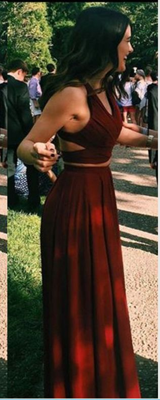 Hot Sales Rust Red Chiffon 2 Pieces Prom Dress,Halter Long Prom Dresses,Two Pieces Cheap Evening Dress Formal Prom Gowns,Simple Party Dresses