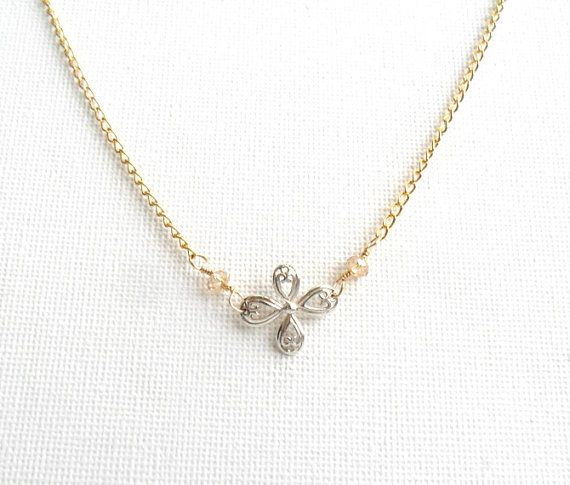 Sterling silver chandelier cross gold filled dainty by Daniblu, $35.00