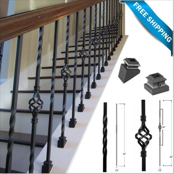Iron Balusters Iron Stair Parts Iron Stair Railing Parts Etsy   Installing Wrought Iron Balusters   Wood   Stair Balusters   Railing   Stair Parts   Iron Stair Spindles