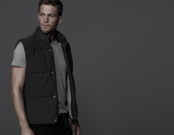 James Perse Cotton Fleece Twill Puffer Vest