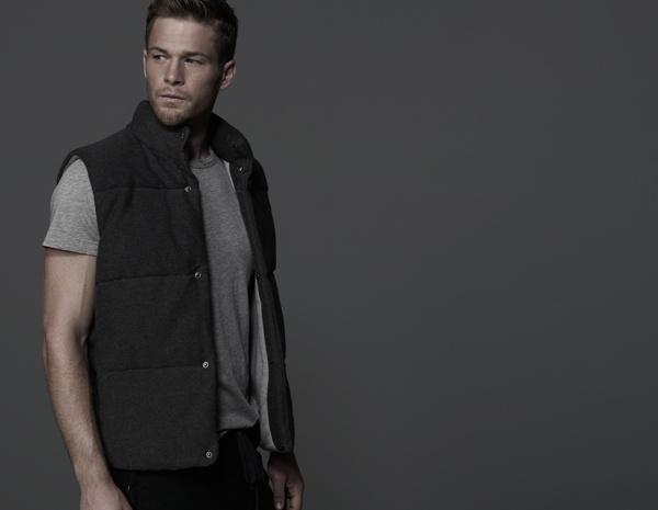 James Perse Cotton Fleece Twill Puffer Vest
