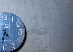 concrete, beton, ściana, wall, kuchnia, kitchen, zegar, clock