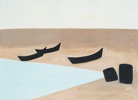 Axel Kargel - Båtar på stranden, Grönvik, Djupvik, Öland