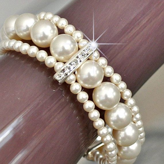 Pearl Cuff Bracelet Bridal Cuff Bracelet Ivory by somethingjeweled, $80.00