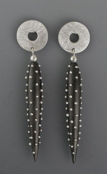 Earring | Suzanne Linquist (Red Circle Metals). Silver studded ebony, silver tops