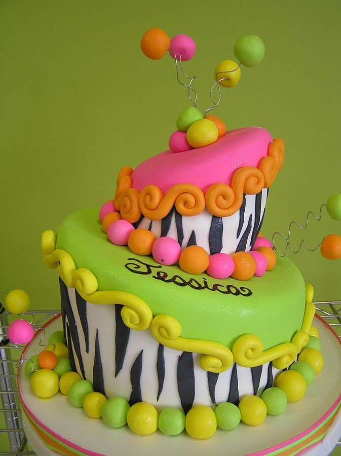 13th birthday girl neon | The birthday girl designed this cake for her 13th birthday! I think it ...