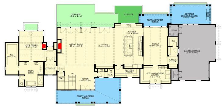 Plan 23782JD: Sprawling Modern Farmhouse Plan with First-Floor Master