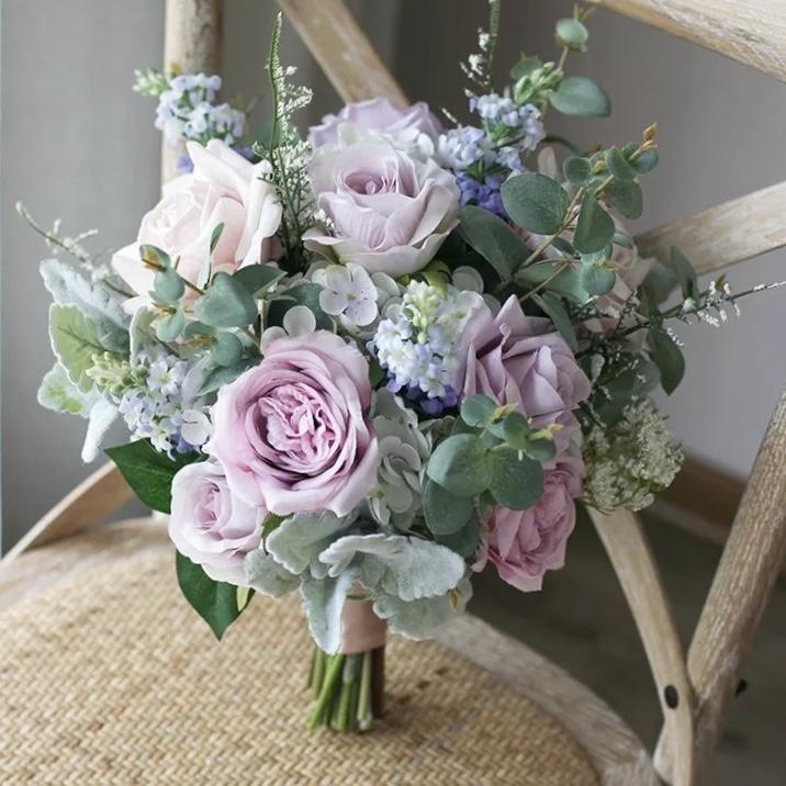 Spring Lavender Silk Wedding Bouquet In 2020 Spring Wedding Bouquets Purple Wedding Bouquets Spring Wedding Flowers