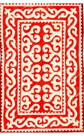 Felt rug made in Kyrgyzstan. This would be the perfect Christmastime accent.