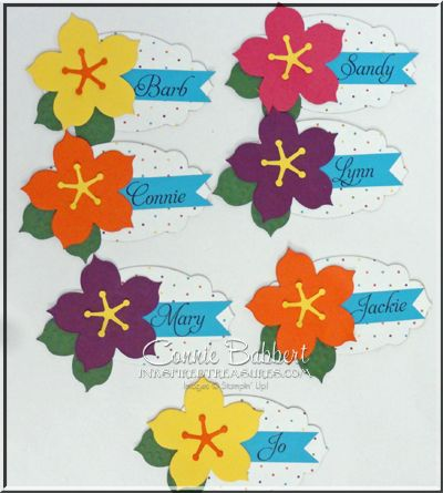 Hibiscus Flower Name Tags, Flower Frenzy Die, Create with Connie and Mary LIVE Event, decorations, Luau, Beach, Stampin' Up!, #stampinup, Connie Babbert, www.inkspiredtreasures.com