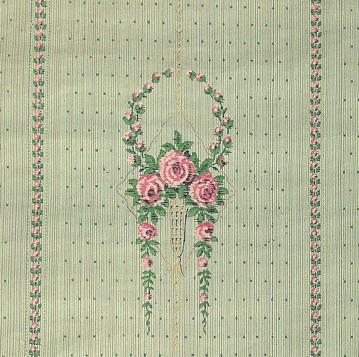 3,5 lf. m antike Tapete.Rosenmuster/Stil Rösler. Um 1910 Genial für Puppenstuben