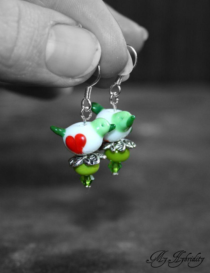 Lampwork earrings birds with Love.