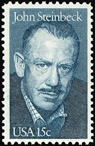 1979 Literary Arts Series: John Steinbeck Issue - The 15-cent John Steinbeck (1902-1968) stamp became available on February 27, 1979. A novelist and journalist, Steinbeck won the Nobel Prize for Literature in 1962. He is best known for his novel The Grapes of Wrath, which tells the story of an Oklahoma family's escape from drought and eviction to fertile but hostile California.