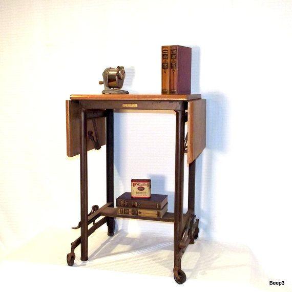 Antique Wood Top Metal Typewriter Table Rolling Cart