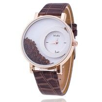 Nova moda relógio couro Marrom