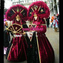 Luxe venetië carnaval jurk met veren hoed middeleeuwse victorian renaissance jurk koningin jurk/marie antoinette/koloniale belle(China (Mainland))