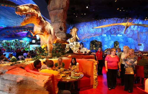 T-Rex cafe...just like Rainforest Cafe, but with Dinosaurs!