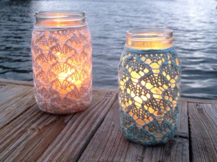 One QUART Size Hand Knit Lace Jar Vase Lantern. $17.00, via Etsy.  These are cute @Katrina Davis