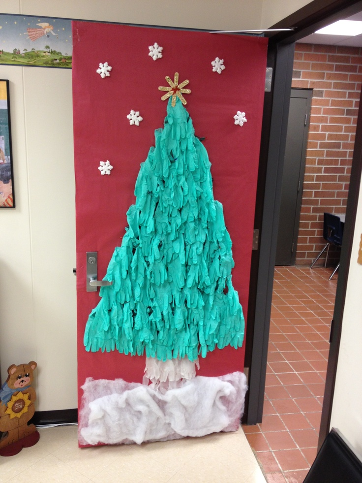 Tree Classroom Door Decoration ~ Christmas tree door decoration made from green gloves
