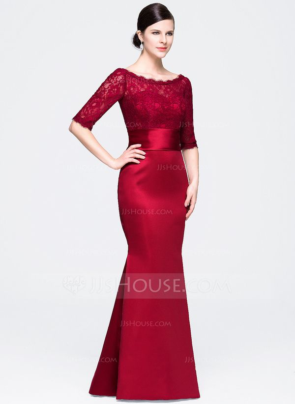 6b7d55158 Trumpet Mermaid Scoop Neck Floor-Length Satin Lace Evening Dress  (017071564) - Evening Dresses - JJ s House