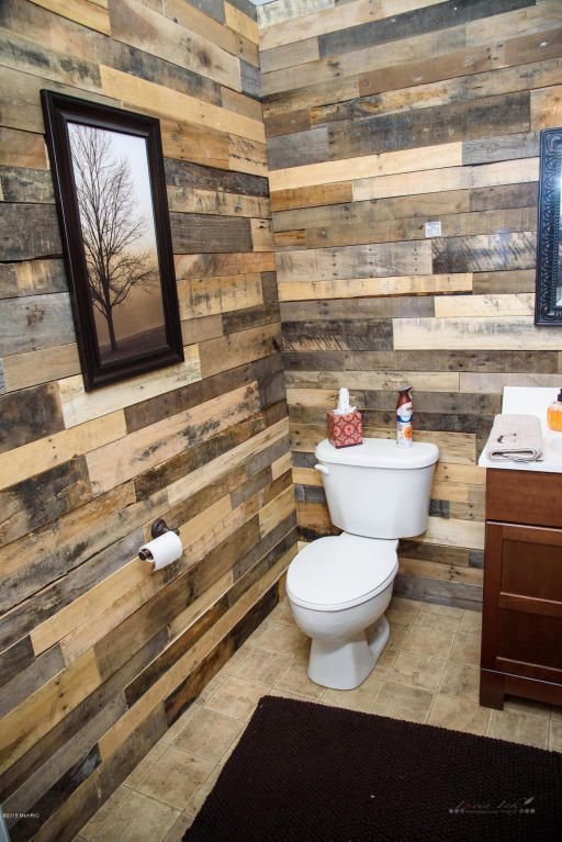 Rustic Powder Room with Stikwood - Reclaimed Weathered Wood, California Cozy Solid Brown Shag Rug (3' x 5')