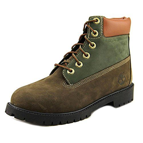 Timberland Boys 6 Inch Premium Waterproof Brown/Green Boot - 6 ** Be sure to check out this awesome product.