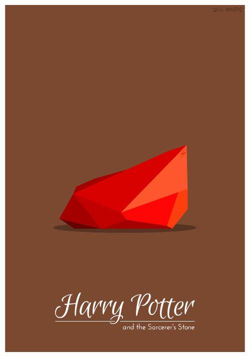 Les 7 couvertures des livres Harry Potter version GIF animé minimaliste