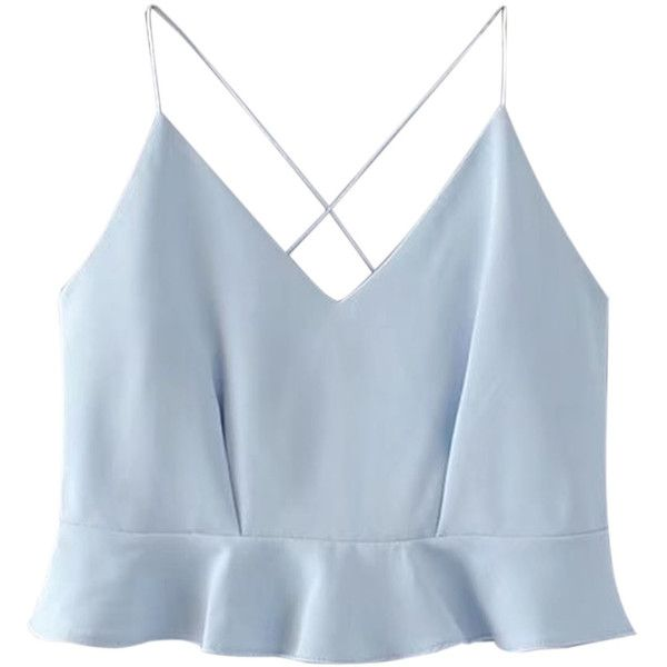 Blue V Neck Cross Back Ruffle Hem Cami Crop Top ($21) ❤ liked on Polyvore featuring tops, cropped tops, blue crop top, strappy cami, blue cami and cami tank tops