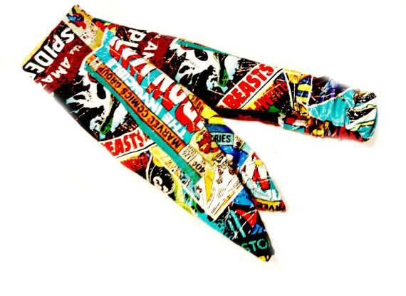 Rockabilly Tie Headband Made with Avengers Marvel Fabric, Comic Head Scarf Made From Thor Iron Man Superhero Fabric