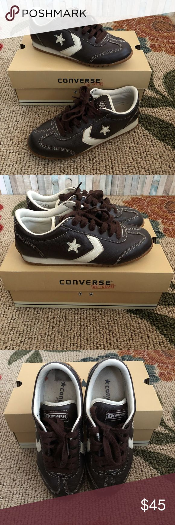 🍫 Chocolate Converse Leather Trainers - Great Condition  - Comes with original box.  US Women's Size: 7.5 Converse Shoes Sneakers