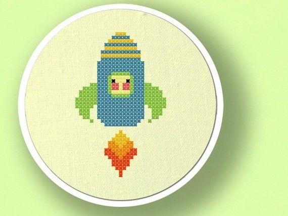Cute Rocket. Cross Stitch PDF Pattern