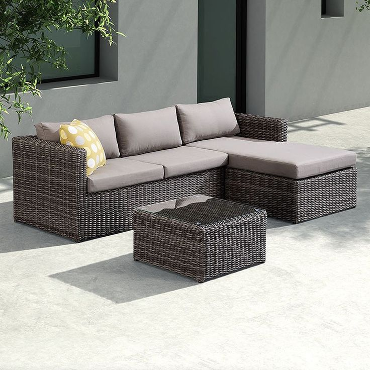 Armen Living Hagen 3 piece Outdoor Rattan Sectional Chase Set with Cushions and Modern Accent Pillows , Patio Furniture