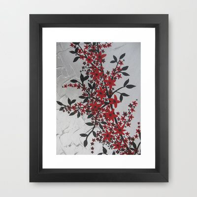 red black silver grey gray japanese painting Japan garland of flowers cherry blossom blossoms Framed Art Print by Cathy Jacobs - $33.00