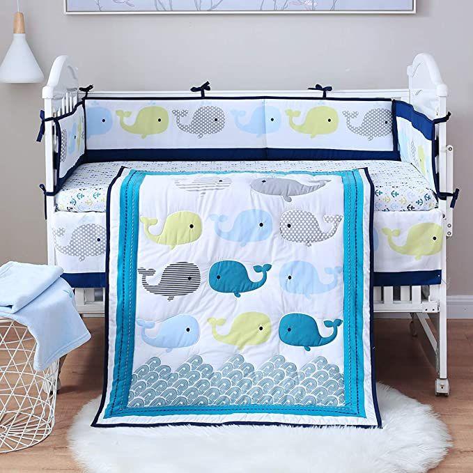 Amazon Com Spring Baby Crib Bedding Set 8 Piece 100 Soft Organic Natural Cotton Portable Stan Baby Bedding Sets Baby Blue Crib Bedding Cotton Baby Bedding