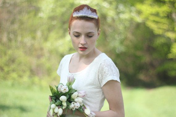 Bridal pearl tiara- in this beautiful wedding tiara I combine hand-cut tulle veil leaves with dozens of fresh water pearls, beads and sparkling
