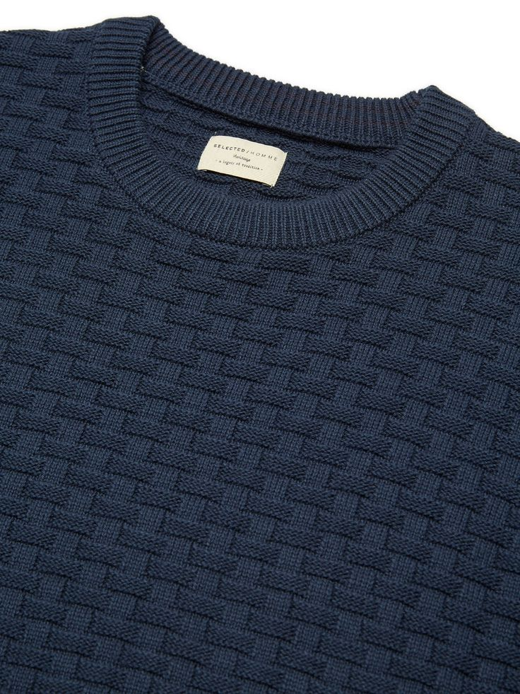 CREW-NECK - GEBREIDE TRUI, Blueberry