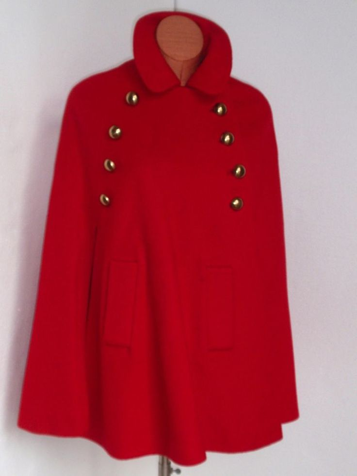 SAK'S FIFTH AVENUE  1970's Red Wood Cape Gold Buttons #SaksFifthAvenue #Cape#vintage#1960's#1970's#Boho#marytylermoore#red#coolvintage