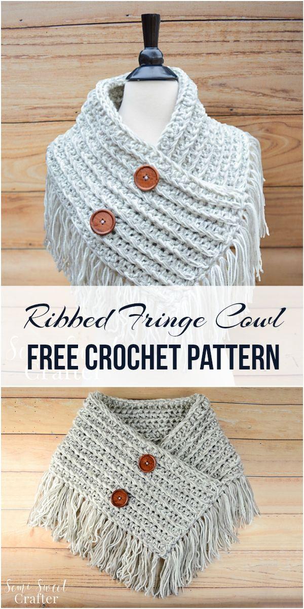 Ribbed Fringe Cowl [Free Crochet Pattern]