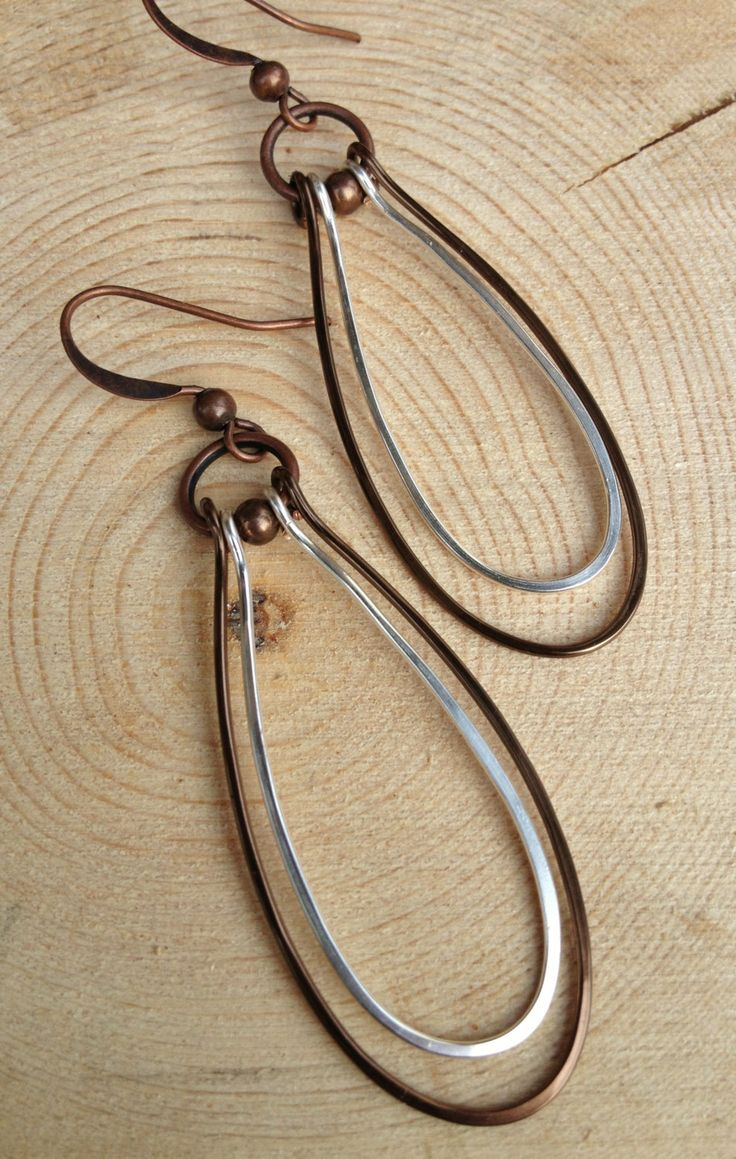 Mixed Metal Earrings / Copper and Silver Earrings / by Lammergeier, $26.00