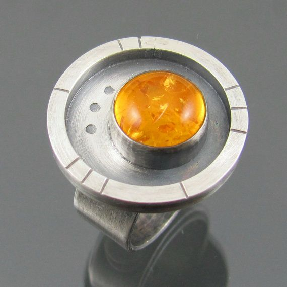 amber apocalyptic ring  sterling silver  by NRjewellerydesign