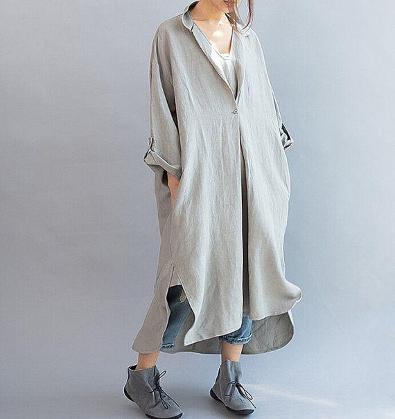 Women Loose Fitting linen Long dress/ Asymmetric Light gray oversized loose linen dress