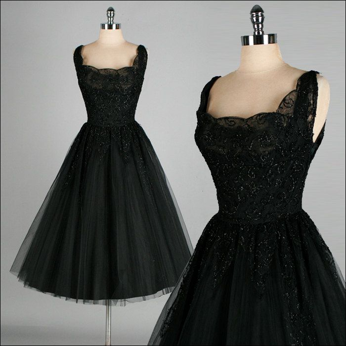 vintage 1950s dress black lace kay selig tulle