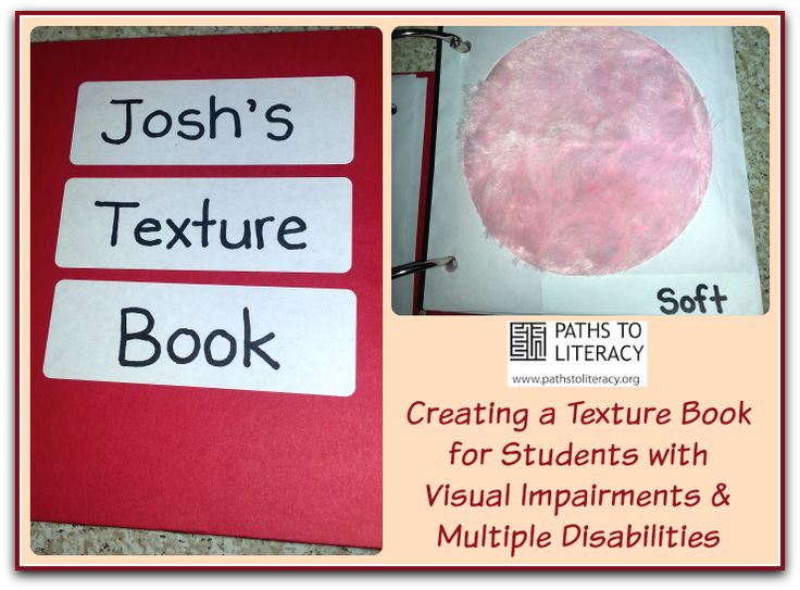 Here's a texture book for a student for a student who is visually impaired with additional disabilities.