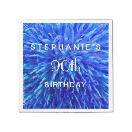 #Blue Multi Paper Napkins 90th Birthday Party - #giftidea #gift #present #idea #number #thirty #thirtieth #bday #birthday #30thbirthday #party #anniversary #30th
