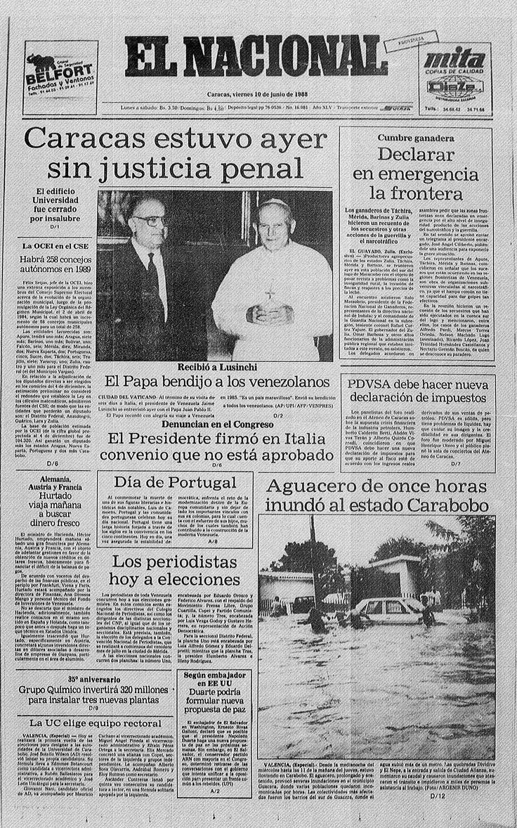 Portada del periódico El Nacional. Día 10 de junio de 1988