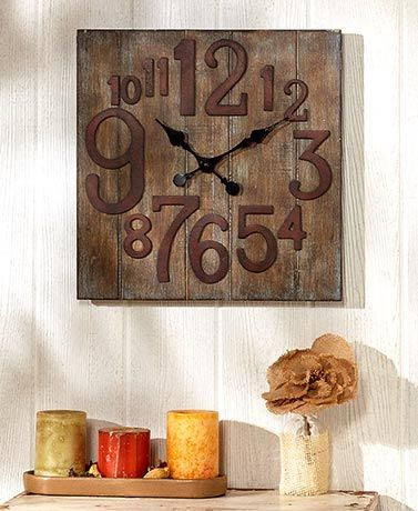 Stylish and practical, this Rustic Wall Clock is a fine addition to any room in your home. It has a reclaimed wooden finish with numbers in a variety of sizes f
