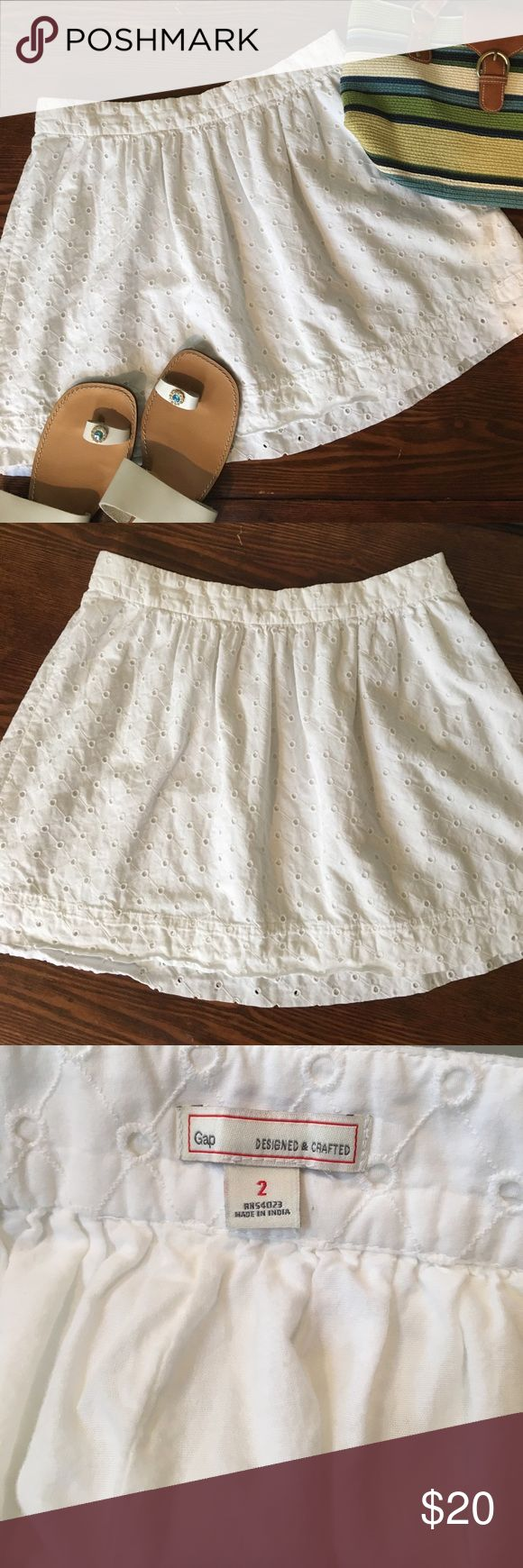 "🌸🐰 SALE! Gap white eyelet skirt 🌸 Gap white eyelet skirt, fully lined. Approximately 16"". Side zipper. So pretty and fresh for Spring and Summer! GAP Skirts"