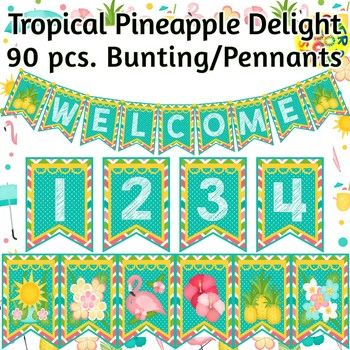 Think Ocean breezes, tropical islands, pineapples, flamingos, hibiscus, bring a little bit of paradise in the classroom! This bunting, pennant set has a whopping 90 elements. Upper and lowercase alphabet, numbers, punctuation and perfect graphics to flank your