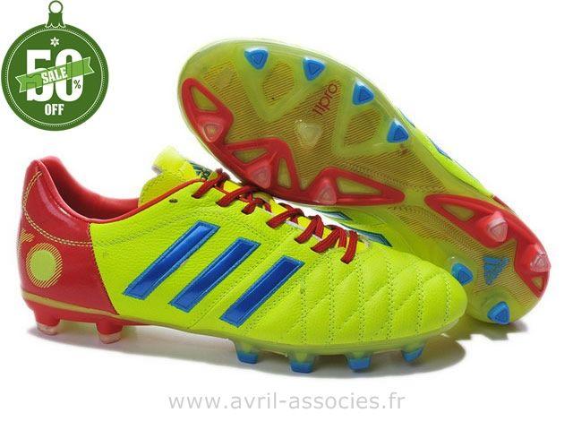 Boutique Chaussures de foot adidas adipure 11Pro TRX FG Fluorescent Vert Bleu Rouge (Adidas Zx Flux Pas Cher)